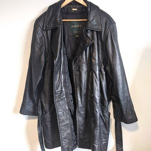 Danier Vintage Leather Trench Jacket Black  Size L
